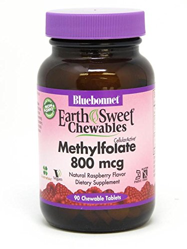 Bluebonnet Earth Sweet Cellular Active Methylfolate 800 mcg Chewable Tablets, 90 (400 Mcg 90 Tablets)