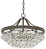 Wohlfurst 20 1/4″W Bronze 5-Light Crystal Pendant Light For Sale