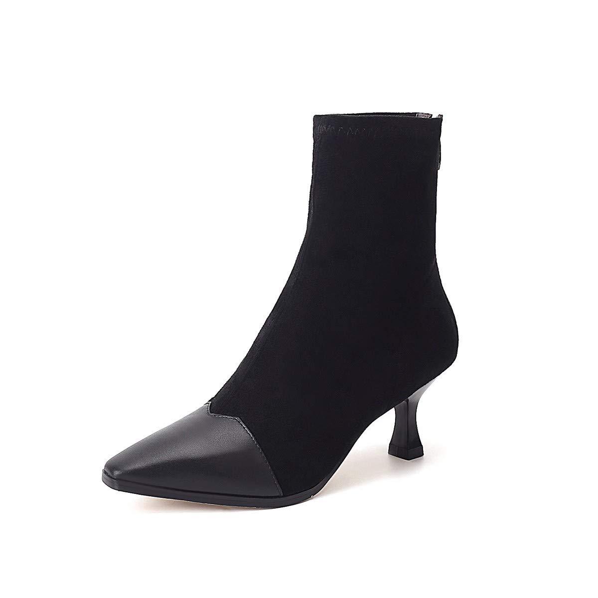 KPHY Damenschuhe/Kurz Darauf Stiefel High Heels Hohe 7Cm Martin Stiefel Dünn Und Mit Stiefeln Die Roten Elastische Strümpfe Stiefel.