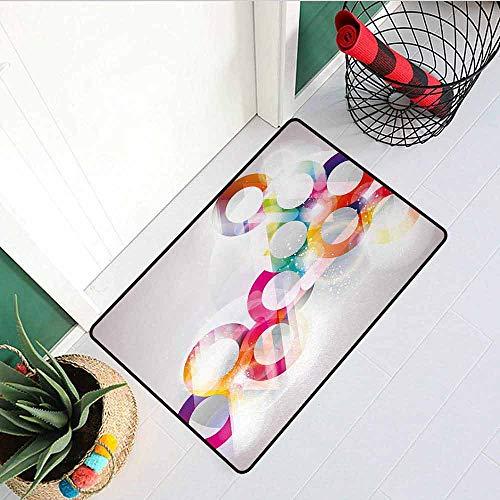 (GloriaJohnson Abstract Universal Door mat Disc Shaped Circular Patterned Gradient Bubbles with Effects Artwork Print Door mat Floor Decoration W19.7 x L31.5 Inch Purple Orange)