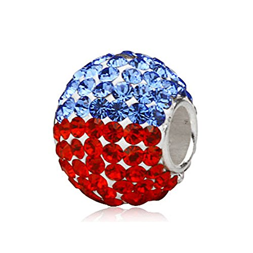 Everbling Dazzling Red White and Blue Large Crystal Pave Patriotic Austrian Crystal 925 Sterling Silver Core Bead Fits European Charm -
