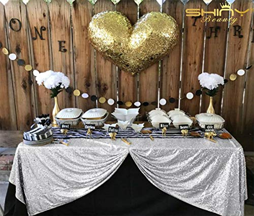 ShinyBeauty Sequin Tablecloth 60x102-Inch Rectangular Table Cloth Sequin Sparkly Table Cover Bride Grooms Table Overlay (Silver) -