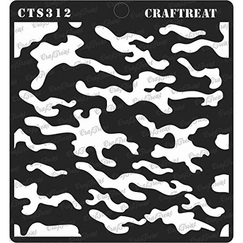(CrafTreat Stencil - Camouflage Reusable Painting Template for Journal, Notebook, Home Decor, Crafting, DIY Albums, Scrapbook and Printing on Paper, Floor, Wall, Tile, Fabric, Wood 6x6 Inches)