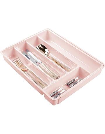 mDesign Cubertero de plástico libre de BPA extensible para cajones y muebles de cocina – Organizador