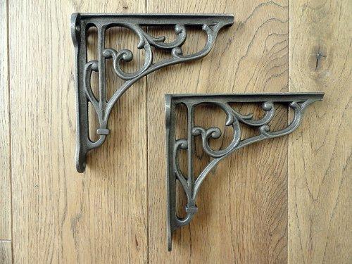 a pair of small classic victorian scroll shelf brackets 5 inch bracket cast iron