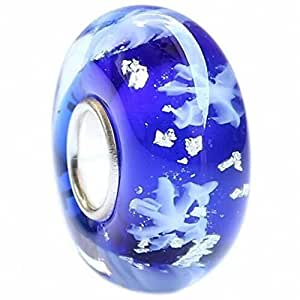BEADS HUNTER Authentic .925 Sterling Silver Core Let It Snow! Snowflakes in a Royal Blue Glass Charm