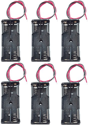 WAYLLSHINE 6PCS 2 x 1.5V AAA Battery Spring Clip Black Plastic 2 x 1.5V AAA Battery Case Holder Box Black Red Wire Leads