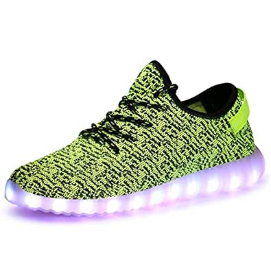 LED Lightweight YEEZY Breathable Mesh Running Shoes men's Sports Casual Sneakers