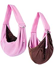 Saim Pet Sling Carrier for Small Dogs Cats Hand Free Pet Puppy Outdoor Travel Bag Reversible Soft Pouch Shoulder Carry Tote Handbag Pet Papoose Bag, Pink