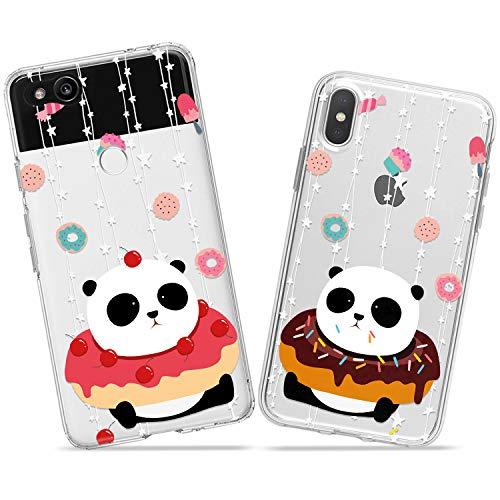 Wonder Wild Panda Donuts Couple Case iPhone Xs Max X Xr 10 8 Plus 7 6s 6 SE 5s 5 TPU Clear Gift Apple Phone Cover Print Protective Double Pack Silicone Food Sweet Cherry Cupcake Stars Animals Cute