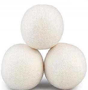 Sohapy Organic Wool Dryer Balls, Natural Fabric Softener- Diameter of 3'' (Pack of 3)