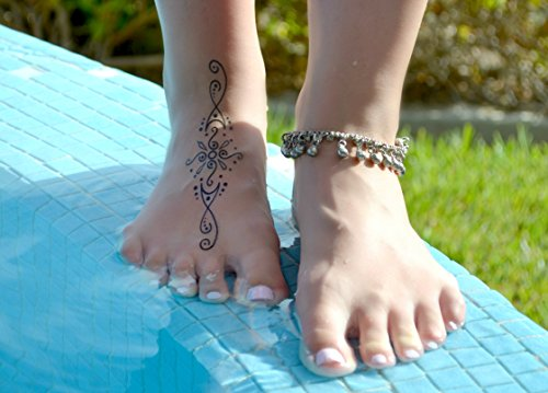Temporary Tattoos for Adventurous Women, Teens & Girls - 43 Henna Style and Nature Tattoos - Long Lasting Waterproof Safe US Made - Plus FREE DIY Video