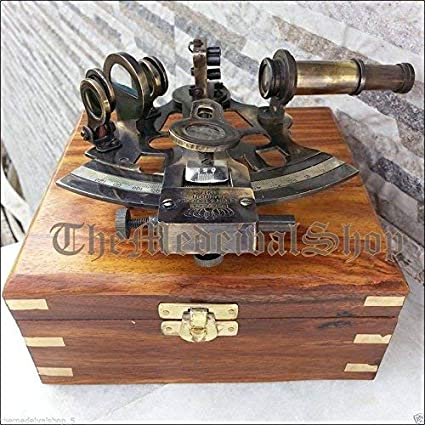 Antique Collectible Nautical Brass Working German Marine Sextant w// Wooden Box