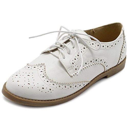 19b78d05585c Galleon - Ollio Women s Flats Shoes Wingtip Lace Up Oxfords M2921 (10 B(M)  US