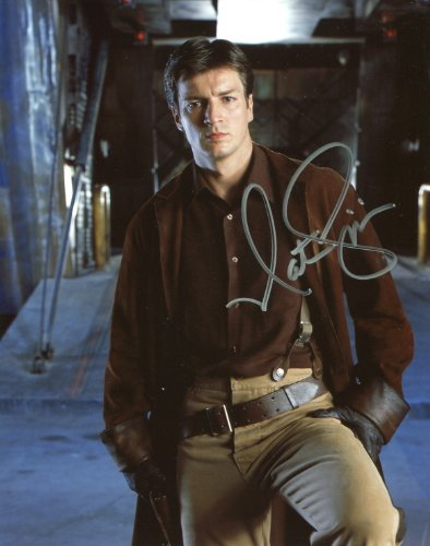Nathan Fillion Signed / Autographed 8x10 glossy Firefly Photo. Includes Fanexpo Certificate of Authenticity and Proof. Entertainment Autograph Original from Star League Sports
