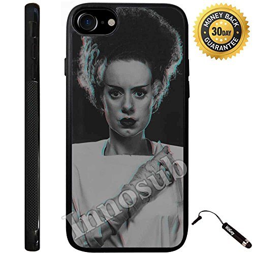Custom iPhone 7 Case (Bride of Frankenstein) Edge-to-Edge Rubber Black Cover with Shock and Scratch Protection | Lightweight, Ultra-Slim | Includes Stylus Pen by Innosub