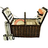 Picnic at Ascot Surrey Willow Picnic Basket With Coffee Set, Brown Wicker/Diamond Orange