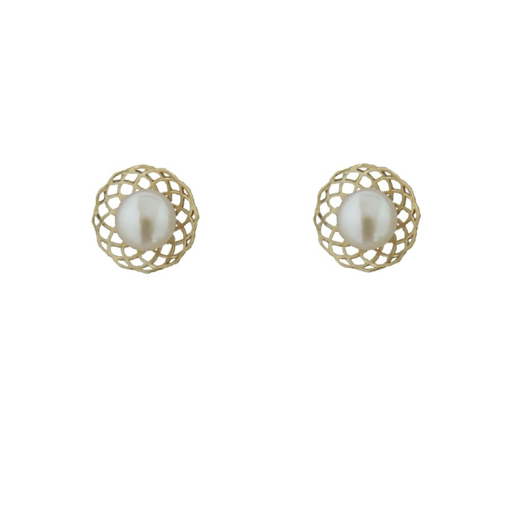 18K Yellow Gold Cultivated Pearl Flower Screwback Earrings 0.25 inch 4 mm pea