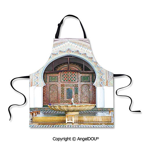 (SCOXIXI Printed Kitchen Apron Baking Apron Golden Historical Fountain Photo in Morocco Africa Antique Mousque Palace Heritage for Cooking Baking Gardening.)