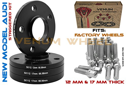 Full Staggered Kit 12mm & 17mm Hub Centric 66.56 H.B 5x112 Black Wheel Spacers W/Chrome 14x1.5 Ball Seat Extended Lug Bolts | Fits 2009+ New Model Audis W/Factory Wheels ()