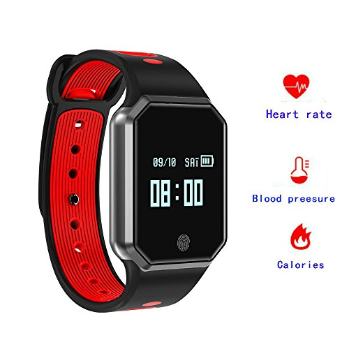 Hangang Fitness Tracker,Bluetooth Smartwatch Smart Bracelet IP67 Waterproof and Adjustable Wrist Sport Smartband Support Blood Pressure Heart Rate Monitoring Watch for iOS/Android-(Red)