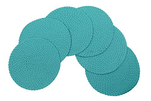 Home Kitchen Non-Slip Table Placemats 15 Inches Round Set of 6 Turquoise Blue Tkdecor from Unknown