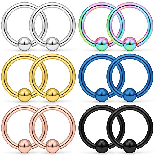 - SCERRING 12PCS 14G Stainless Steel Captive Bead Ring Nose Rings Hoop Helix Daith Cartilage Tragus Earrings Eyebrow Body Piercing 10mm
