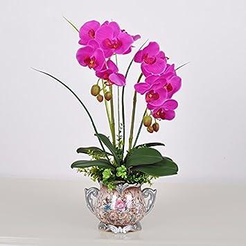 LOF-fei Flores Artificiales simulación Phalaenopsis Orquídeas macetas decoración del hogar Arreglo Floral Seda Flores Falsas Accesorios de Mesa,macetas de ...