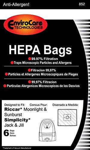Riccar Bag Paper Moonlite Canister HEPA 6 Pack Jack & Jill Sunburst GE 169072 Pizzaz Type Z (eRSR-1449)