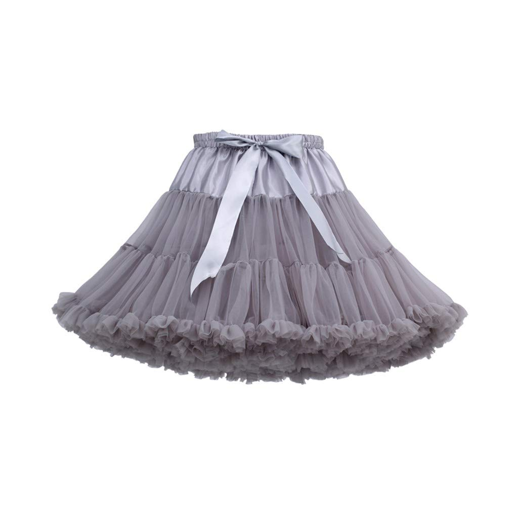 Women's Tulle Skirts A-Line Mini Skirts Fashion Sexy Solid Color Party Dance Ballet Bow Short Tutu Skirts (Free Size, F)