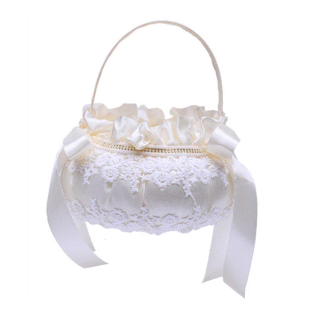 BESTOYARD Wedding Flower Girl Basket Embroidery Bride Basket for Wedding Ceremony Party Decoration (Beige)