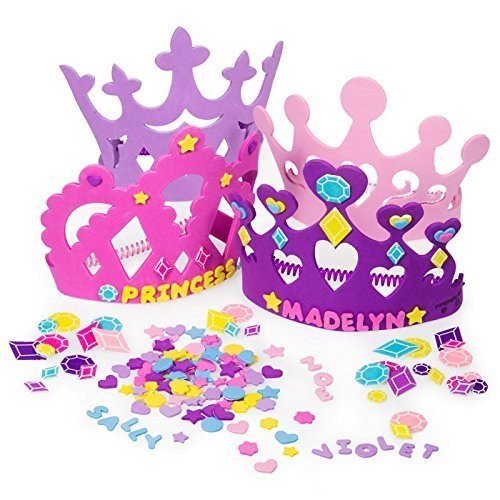 2 Set of Princess Tiara Crown Craft Kits (Includes 24 Foam Tiaras + 800 Pc Princess Craft Shapes) -