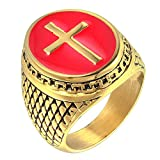 Budazo Mens Titanium Steel Gold Plated Drip Red Cross Castings Rings Size 15