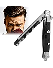 Hair Styling Spring Comb Pocket Pocket Folding Push Button Brush para Hombres, Uso para Cabello de Cabeza o Barba