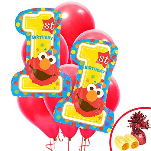 - BirthdayExpress Elmo Turns One Party Supplies Jumbo Balloon Bouquet Kit
