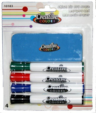 YDB Dry Erase Marker Set with 4 Markers & Eraser44; Case of 48