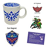 Legend of Zelda Coffee Mug Bundle of 4 Items- Hyrule Map Mug, Triforce Airfreshener, Hyrule Shield Magnet, Majora's Mask Decal, and Lon Lon London Fog Latte Recipe Card [Cool Link Nintendo Merchandise NES Bundle for Gamers]