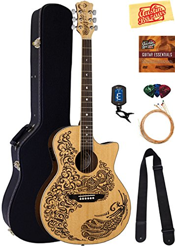 Luna Henna Paradise Select Spruce Acoustic-Electric Guitar Bundle with Hard Case, Strap, Strings, Tuner, Picks, Austin Bazaar Instructional DVD, and Polishing Cloth