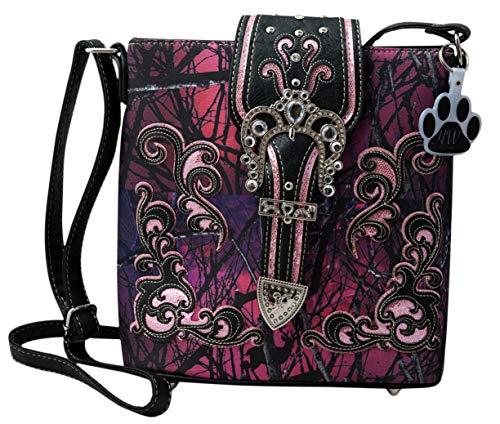 HW Handbag Camouflage Collection Bag Camo Rhinestone Crossbody Concealed Messenger Buckle Carry Purple Western qzrftWpz