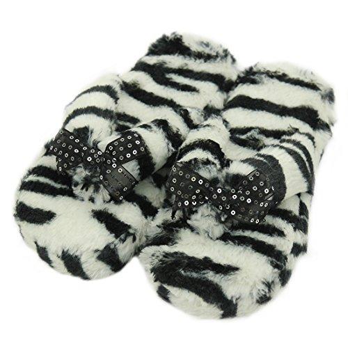 Gohom Frauen Solide Warm Plüsch Hausschuhe Für Zuhause Zebra Schwarz