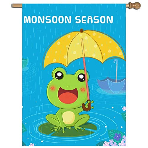 VASQUEZLIA Home Decorative Single Sided Monsoon Season with Frog, Quality Polyester Flag for Indoor/Outdoor - 27 x 37 Inch
