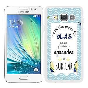 Funda carcasa para Samsung Galaxy A3 frase No puedes para las olas pero puedes aprender a surfear borde blanco