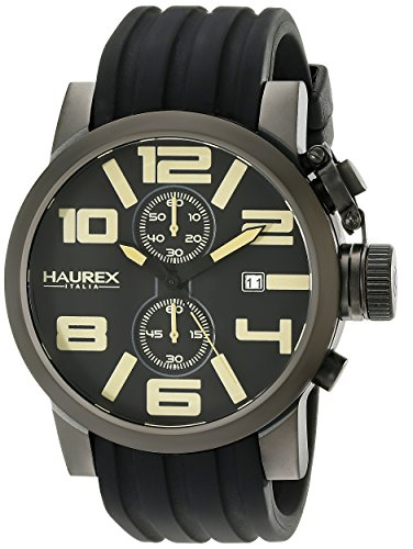 Haurex Italy Men's 6N506UTM TURBINA II Analog Display Quartz Black Watch - Haurex Black Watch