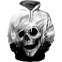 Pandolah Men's Realistic 3D Print Pullover Hooded Sweatshirt Hoodies With Big Pockets