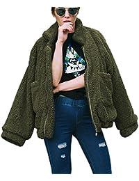 Women's Fashion Long Sleeve Lapel Zip Up Faux Shearling...