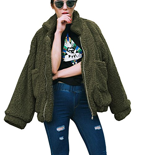 PRETTYGARDEN Women's Fashion Long Sleeve Lapel Zip Up Faux Shearling Shaggy Oversized Coat Jacket with Pockets Warm Winter (Green, Small)