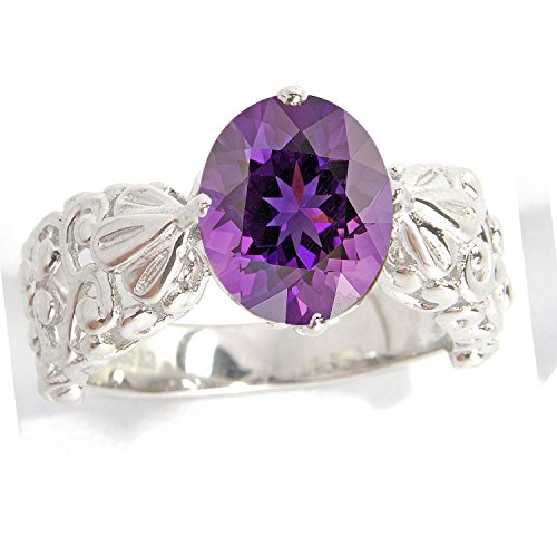 Sterling Silver Oval Amethyst Solitaire Swirl Work Ring ()
