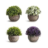 CEWOR 4 pack Artificial Mini Plants Plastic Mini Plants Topiary Shrubs Fake Plants for Bathroom,House Decorations,4 styles
