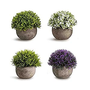CEWOR 4 Pack Artificial Mini Plants Plastic Mini Plants Topiary Shrubs Fake Plants for Bathroom,House Decorations 9