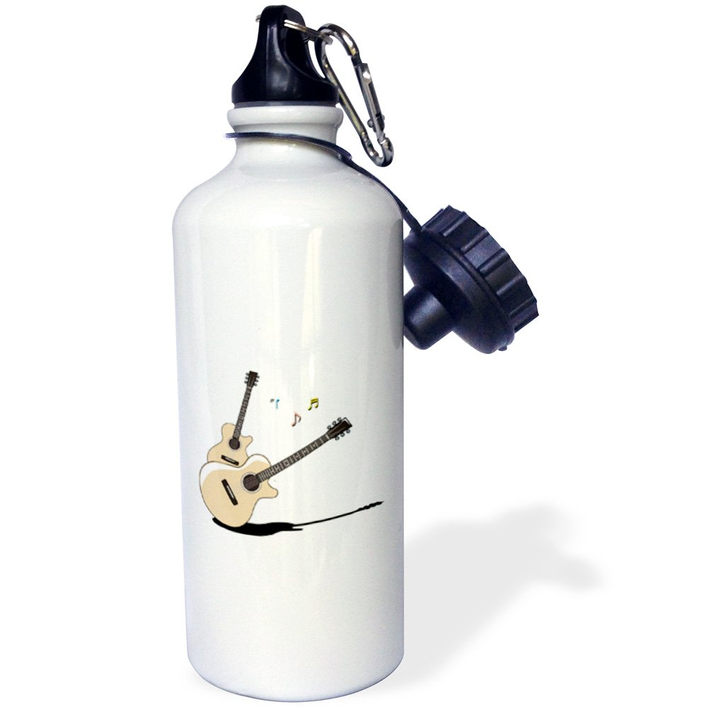 3dRose wb/_164217/_1acoustic guitars two shadow notes Sports Water Bottle 21 oz White